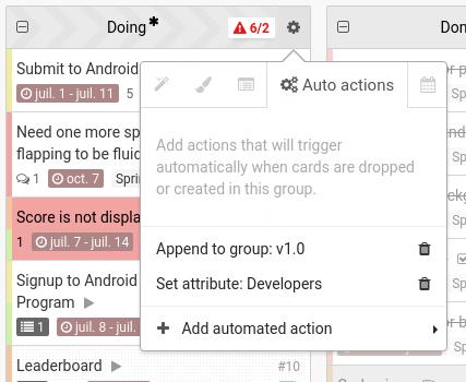 auto actions menu
