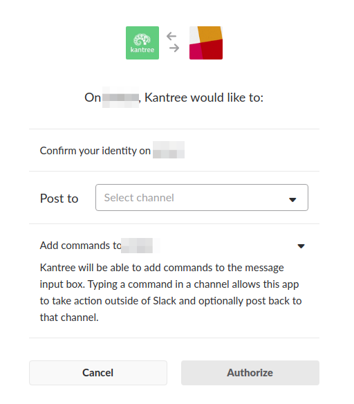 Slack authorize Kantree