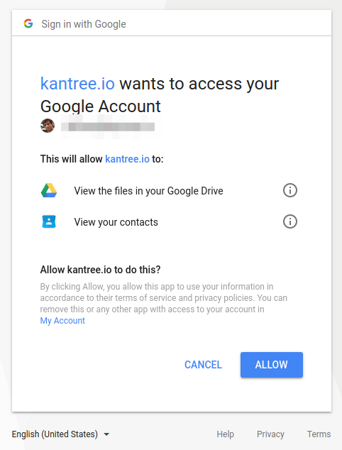 allow Kantree in Google