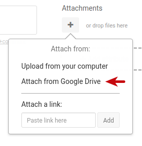 attach Google drive files