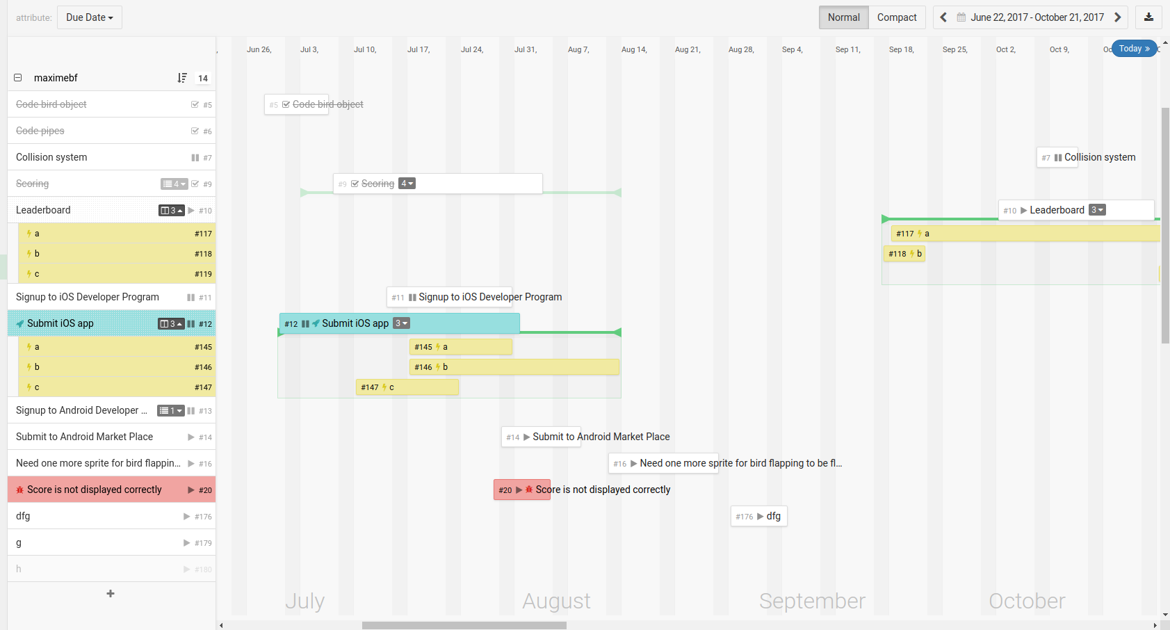the timeline view